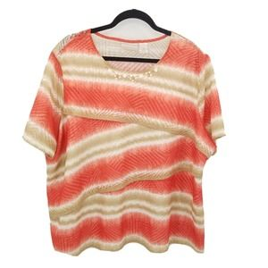 alfred dunner short sleeve layer striped knit top